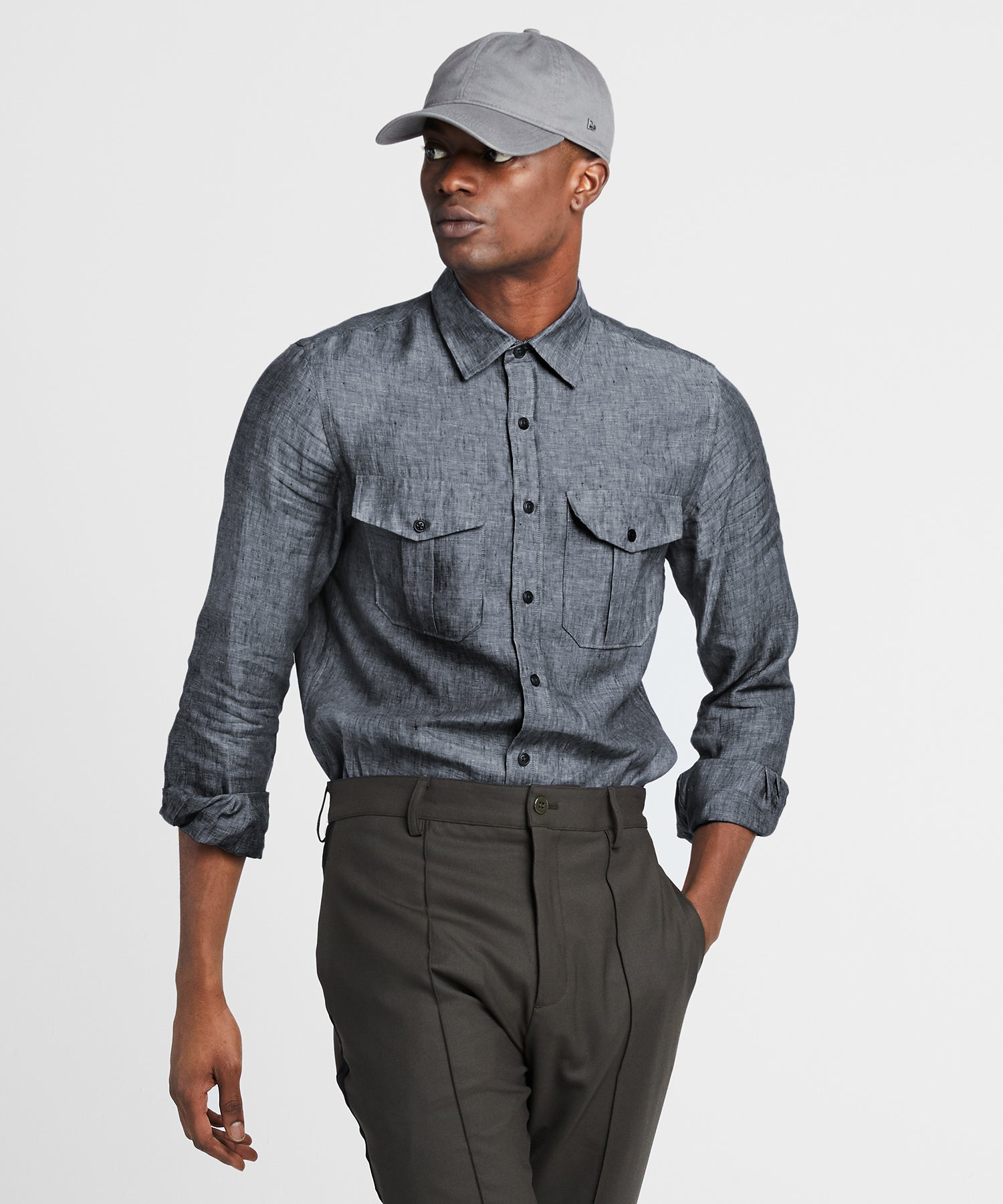 Italian Two Pocket Linen Utility Long Sleeve Shirt in Navy