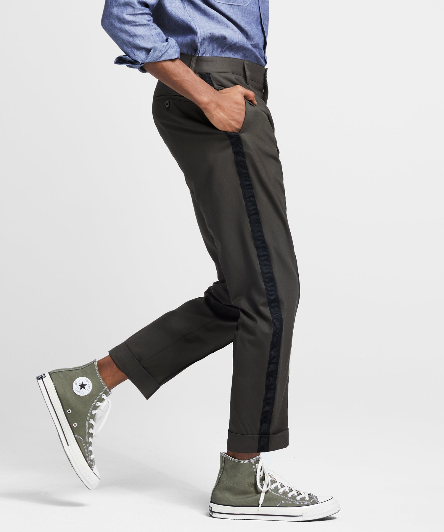 Olive Pintuck Trouser with Black Side Stripe