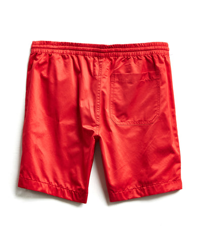 Satin Weekender Short in Red