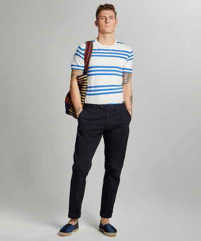 Straight Fit Tab front Stretch Chino in Navy