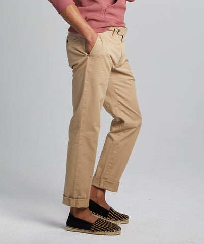 Straight Fit Tab Front Stretch Chino in Khaki