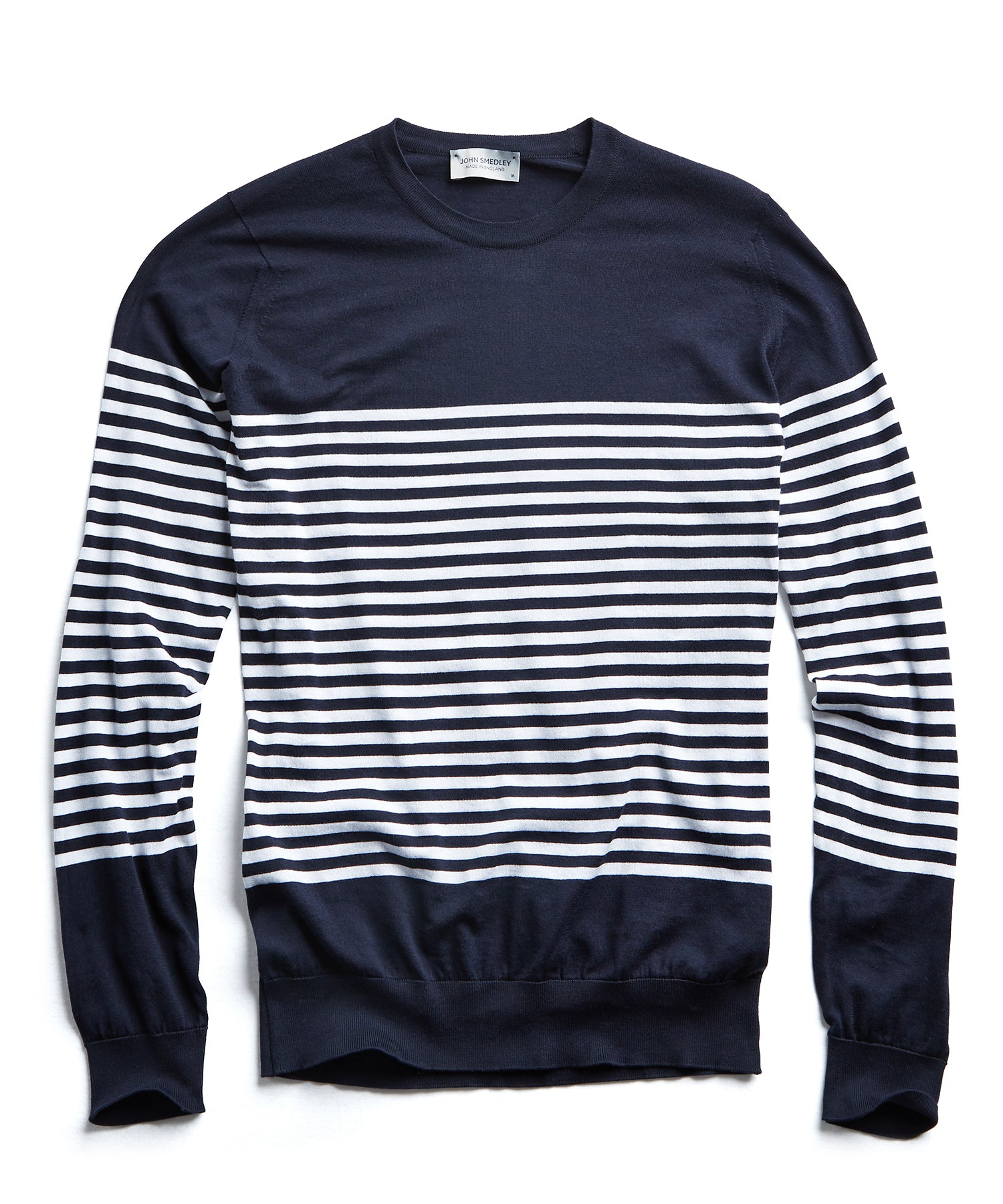 John Smedley Sea Island Cotton Striped Sweater in Navy