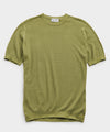 John Smedley Sea Island Cotton Pique T-shirt in Willow Green
