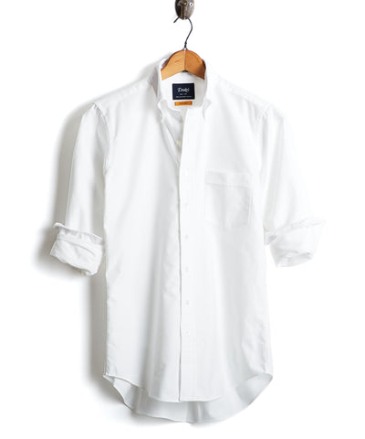 Drake's Solid Oxford Button Down Shirt in White