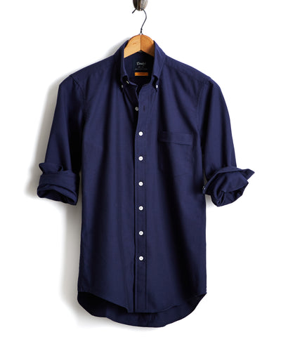 Drake's Solid Oxford Button Down Shirt in Navy