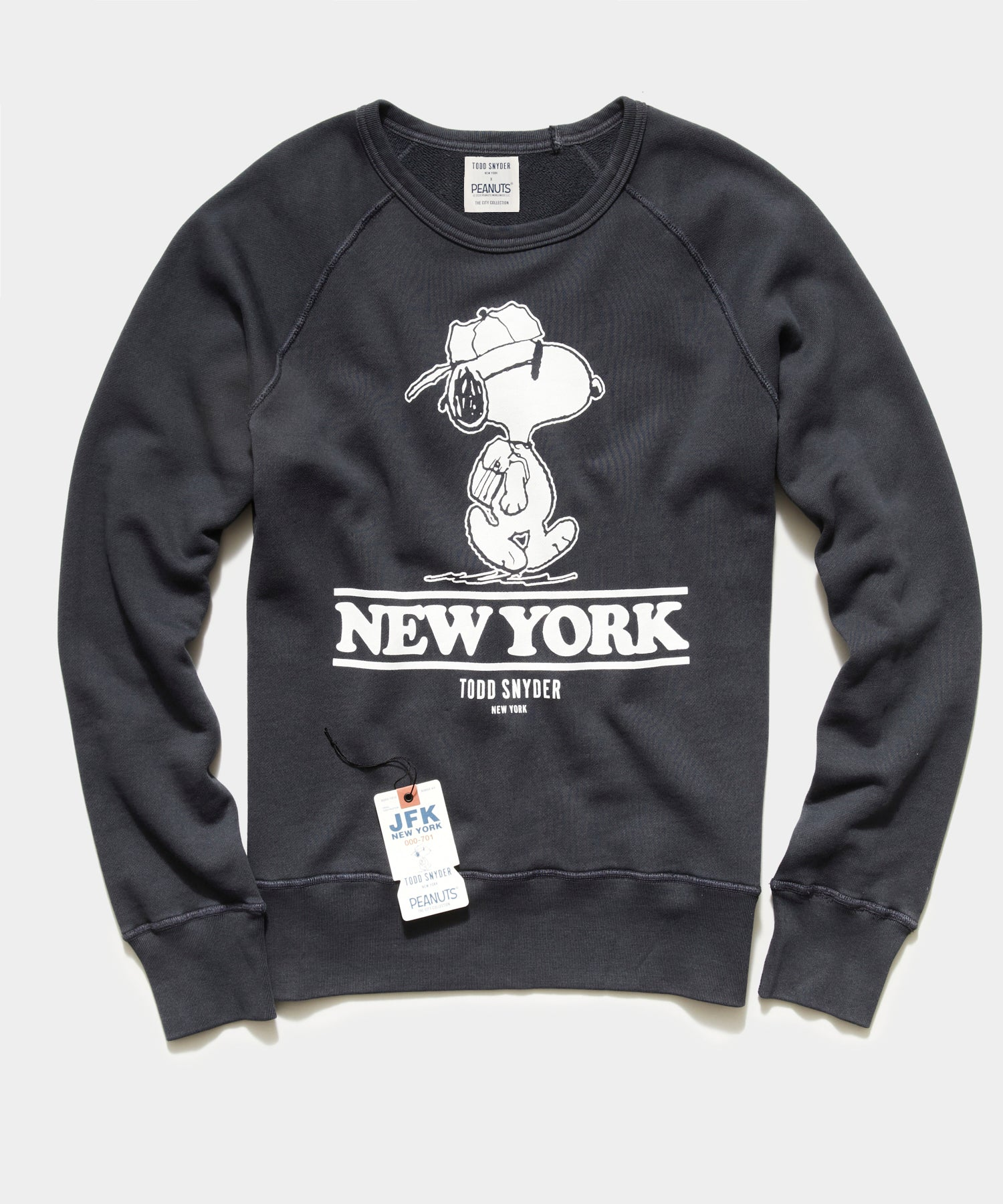Peanuts City Collection New York Crewneck Sweatshirt in Faded Black