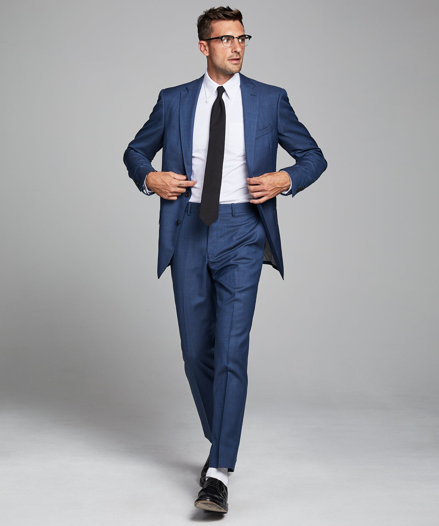 Sutton Stretch Tropical Wool Suit Jacket In Petrol Blue