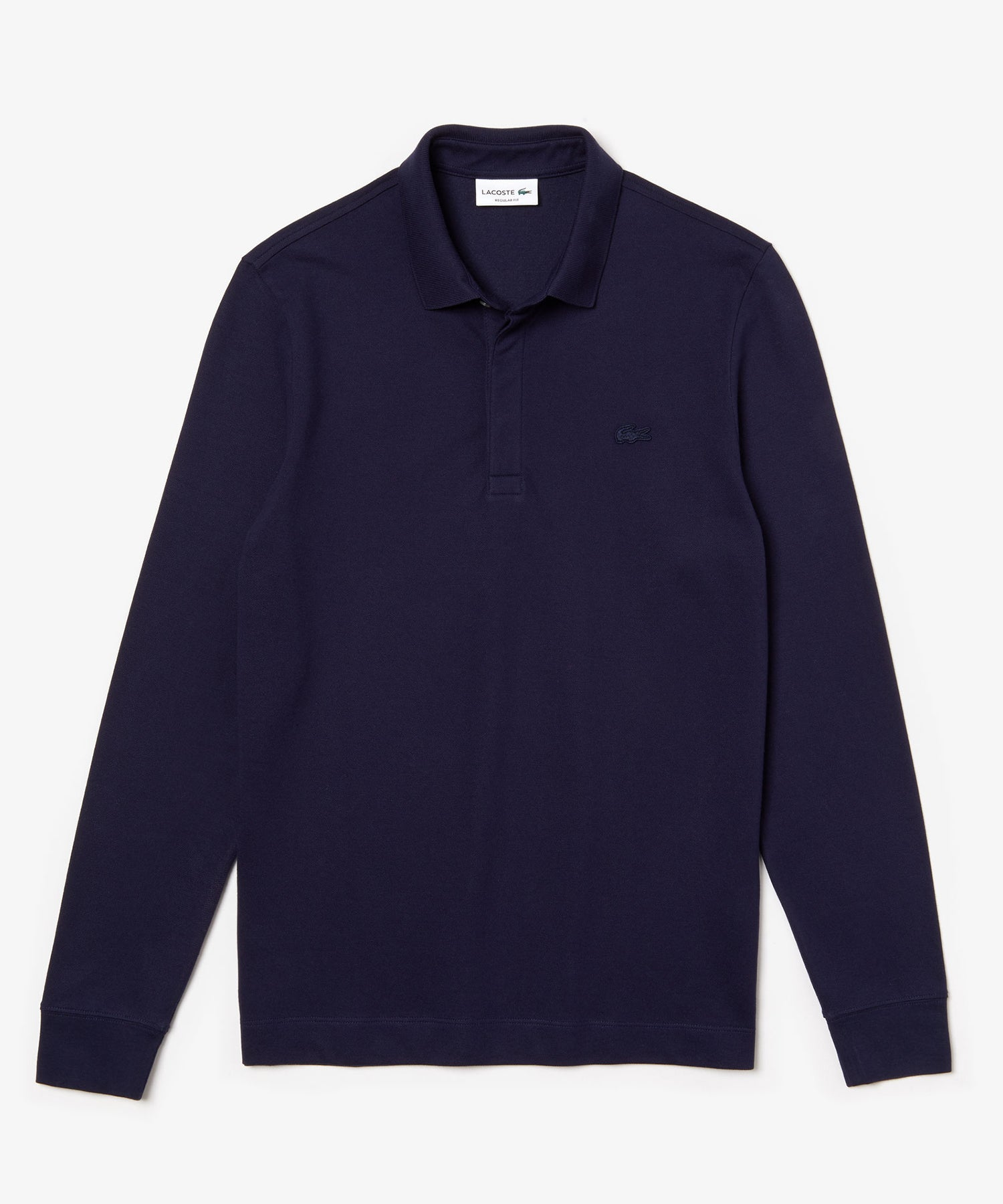 Lacoste Regular Fit Long-Sleeve Stretch Cotton Paris Polo in Navy
