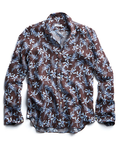 Maffeis Brown Floral Camp Collar Shirt in Brown