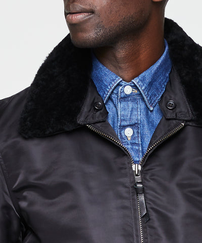 Exclusive Todd Snyder + Golden Bear Shearling Collar Bomber Jacket in Black