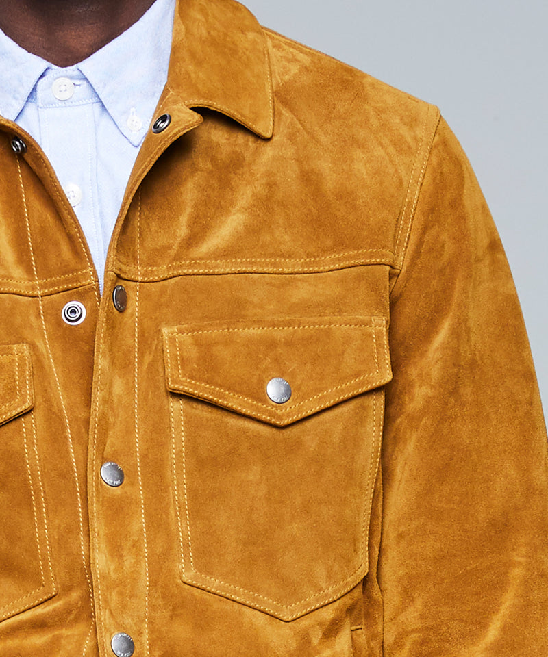 Italian Suede Snap Front Dylan Jacket in Navy
