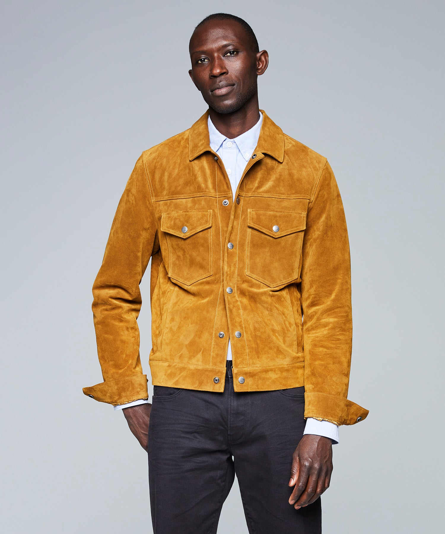 Italian Dylan Snap Suede Jacket in Brass