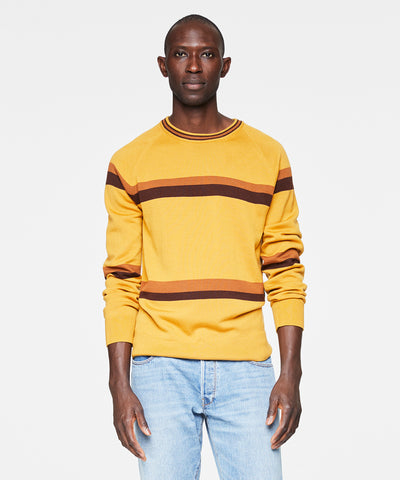 Fine Italian Merino Wool Stripe Crew Sweater in Mustard