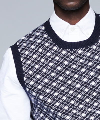 Merino Argyle Vest in Navy