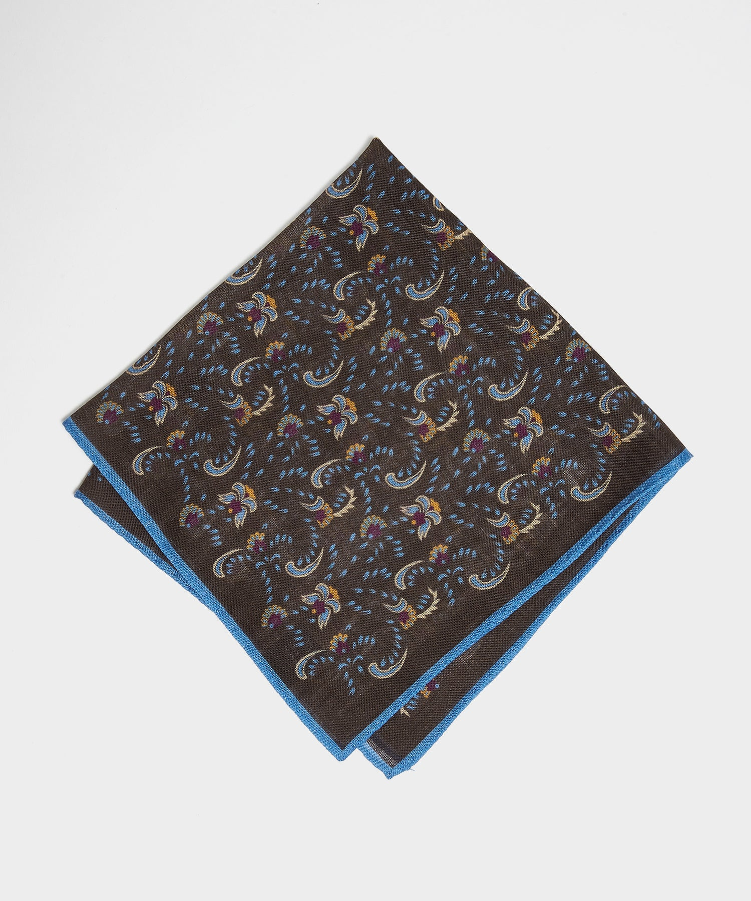 Drake's Vintage Paisley Pocket Square in Blue