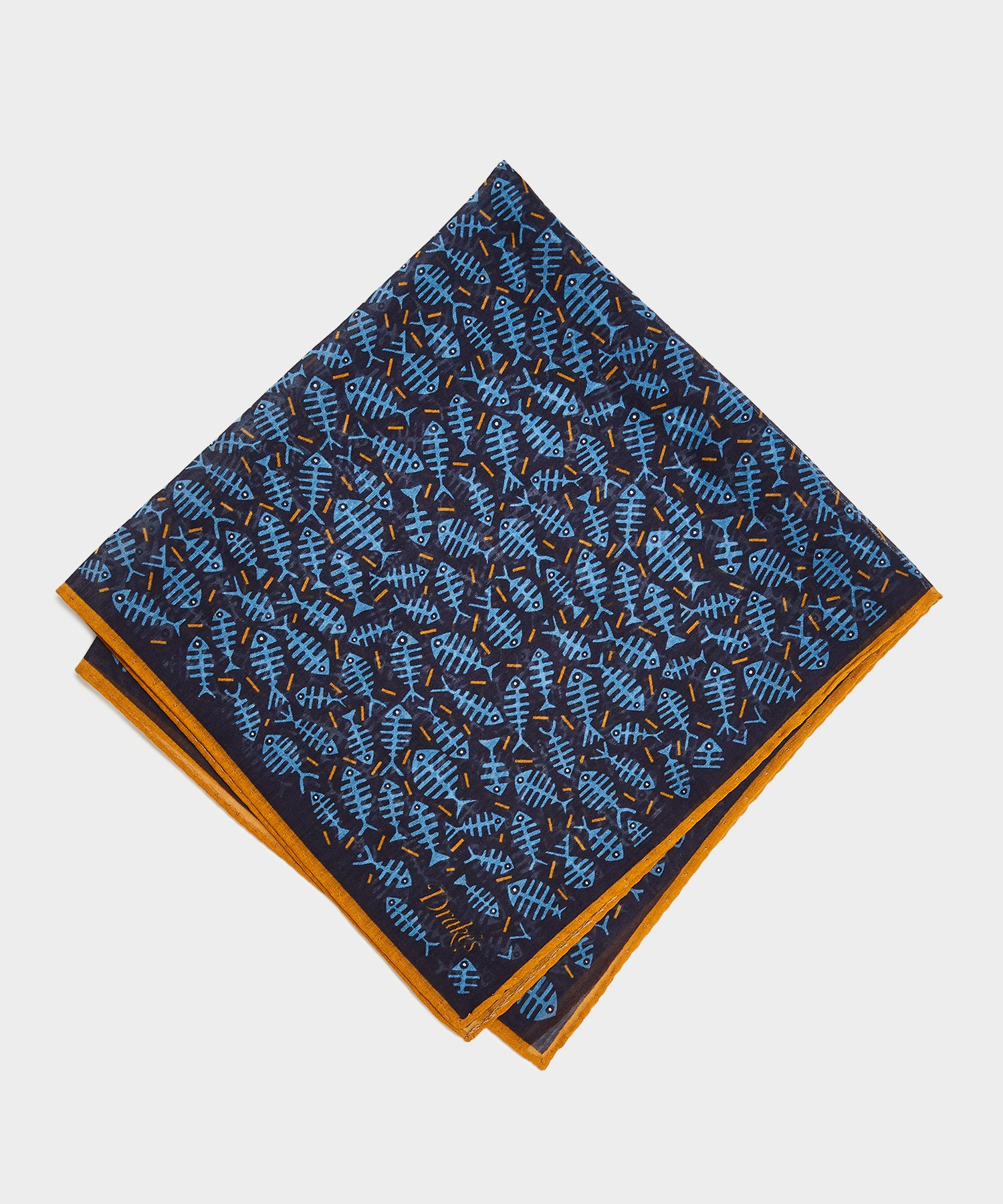 Drake's Fish Bones Printed Pocket Square in Navy