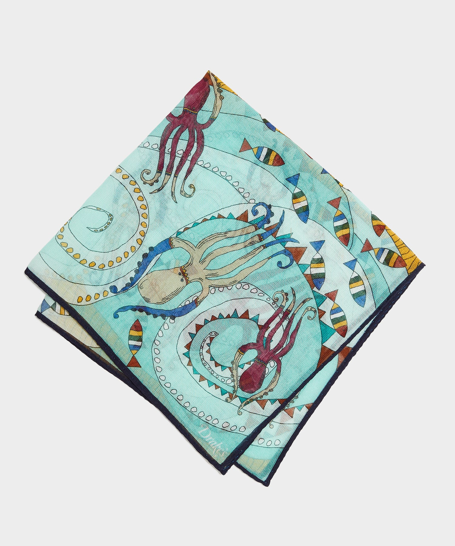 Drake's Octopus Printed Pocket Square In Mint Green