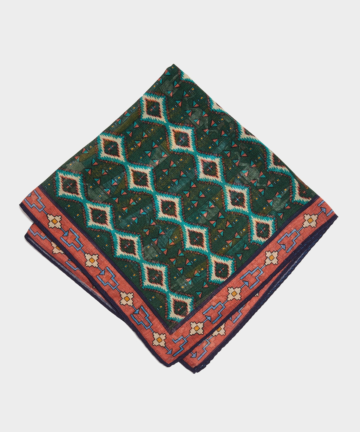 Drake's Inca Printed Pocket Square in Green