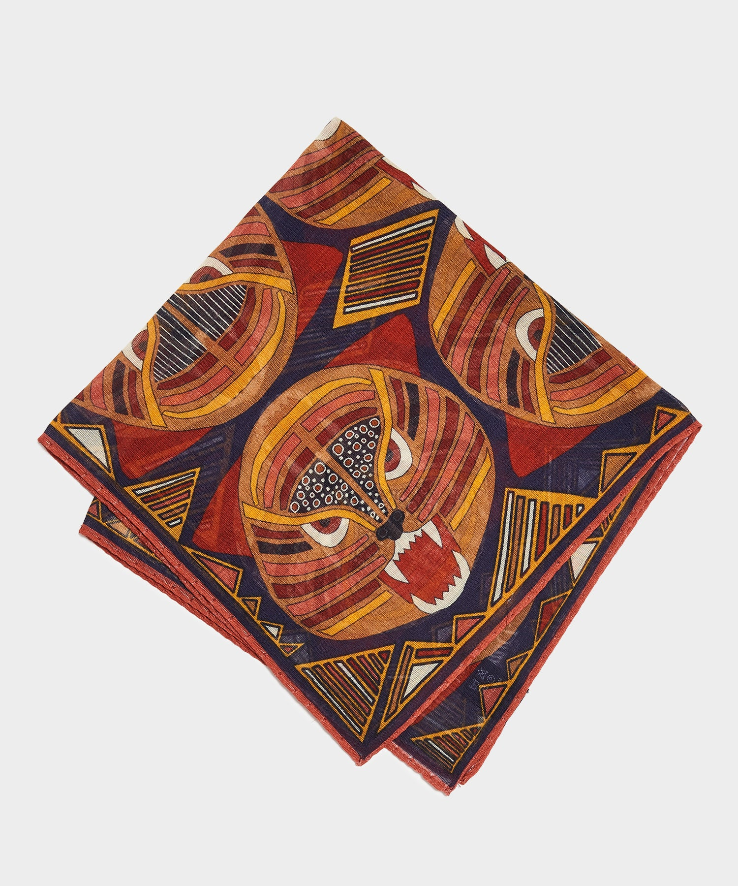Drake's Bold Tiger Printed Pocket Square Navy