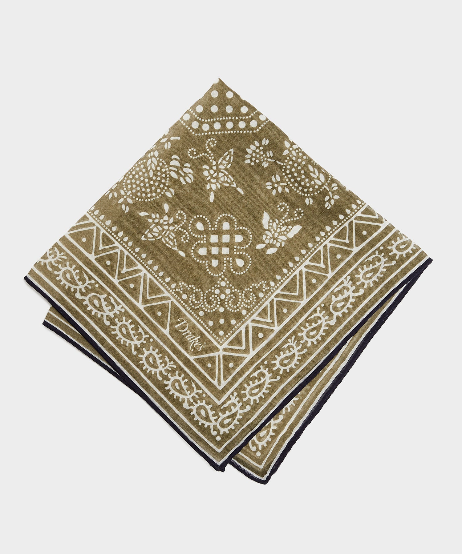 Drake's Simple Paisley Printed Pocket Square in Olive