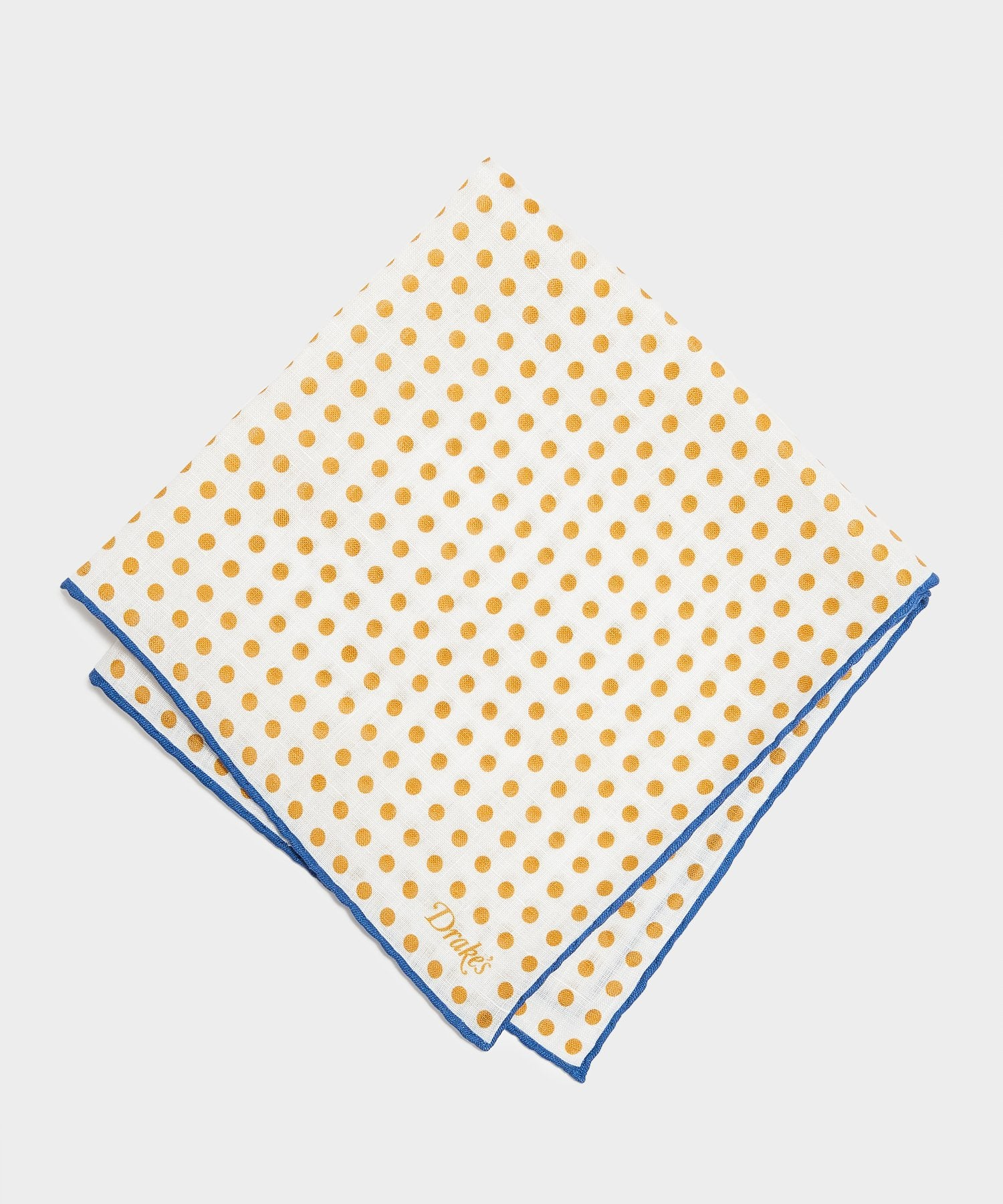 Drake's Spot Printed Pocket Square in Yellow