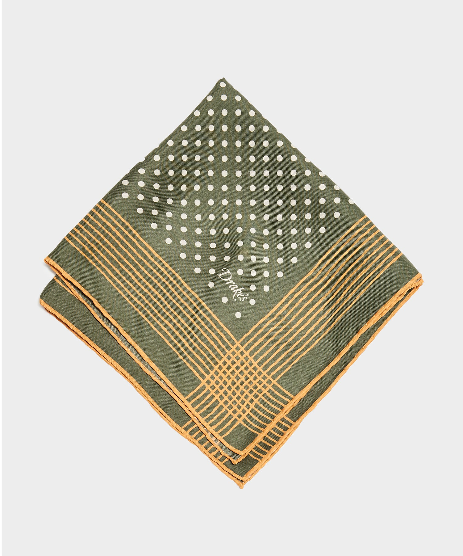 Drake's Painted Border Spot Printed Pocket Square in Olive