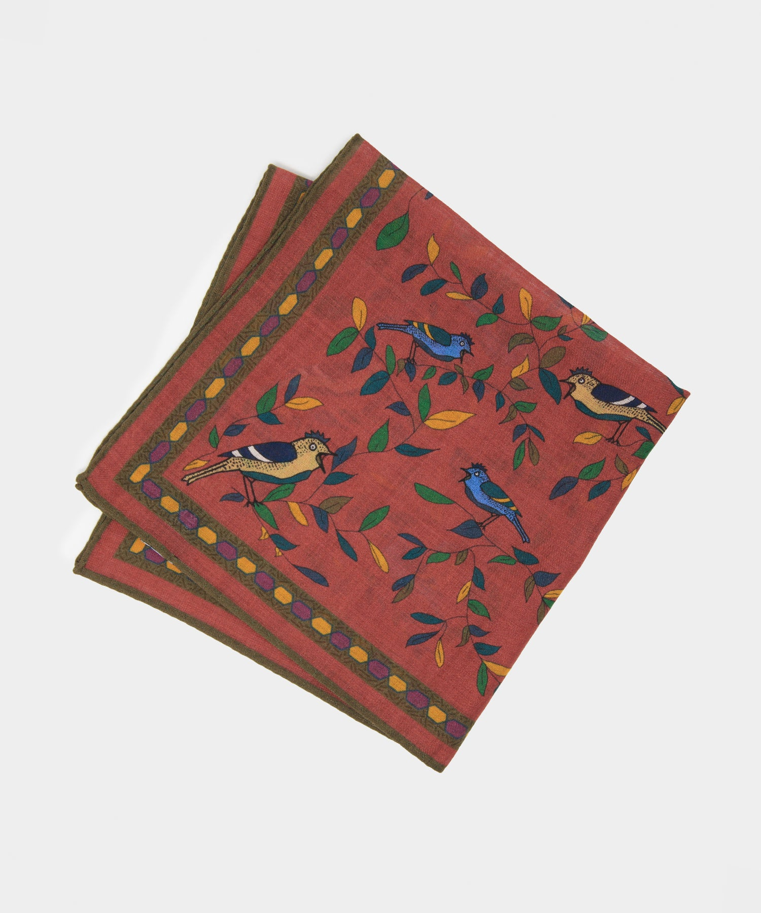 Drake's Bird Pocket Square in Dark Pink