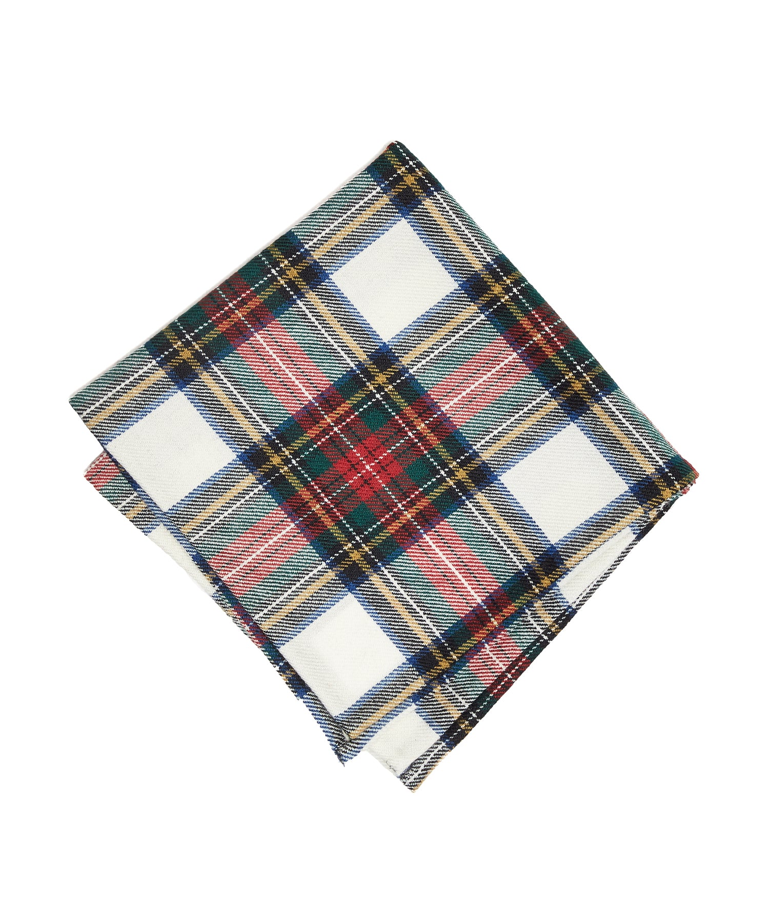 Abraham Moon Wool TARTAN POCKET SQUARE in WHITE