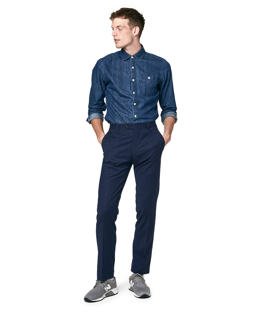 Stretch Wool Tab Front Trouser in Navy