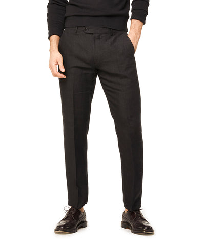 Linen Tab Trouser in Black