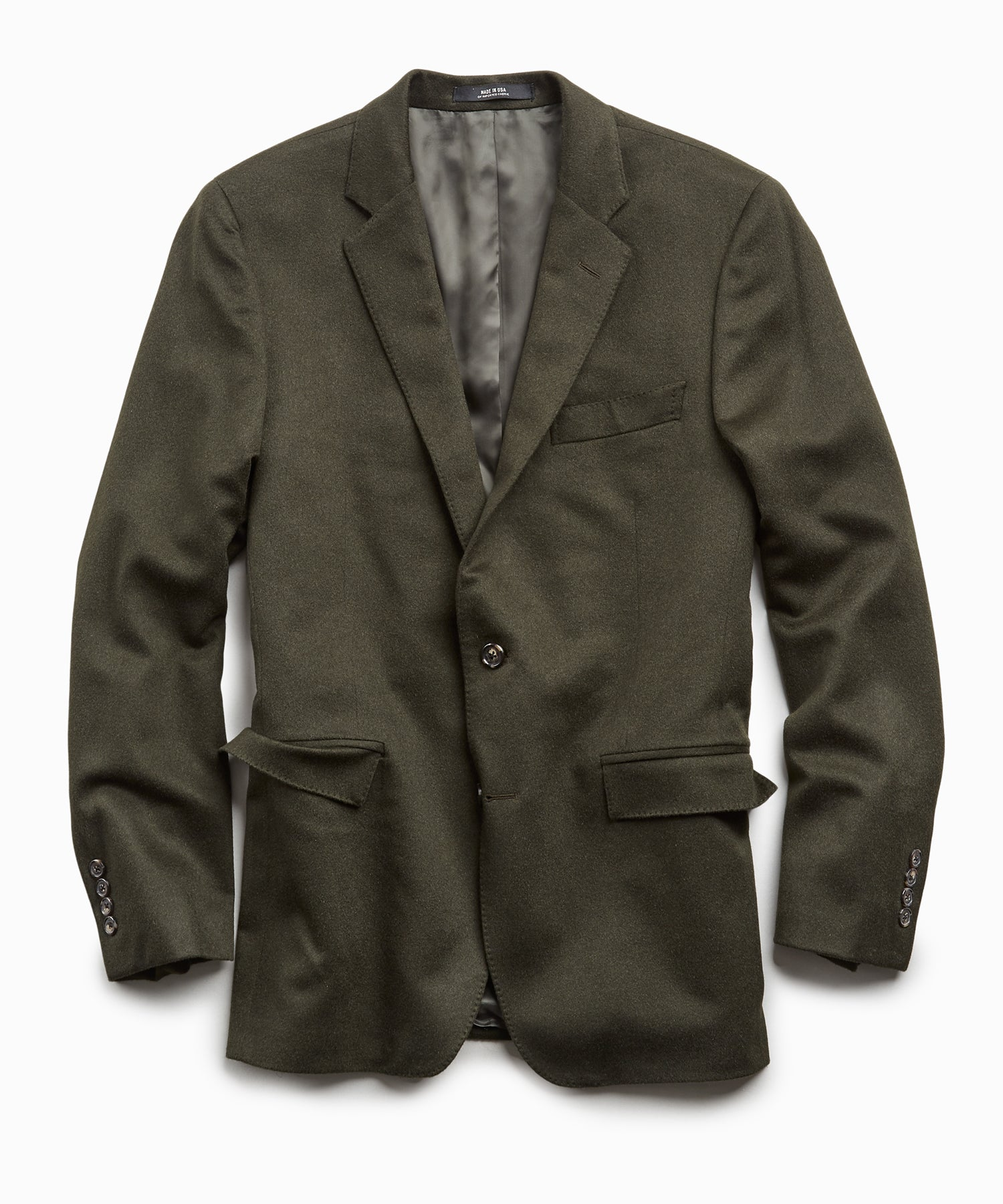 Italian Cashmere Sutton Suit Jacket in Olive