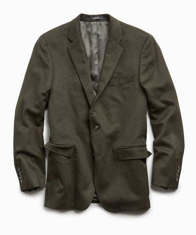 Italian Cashmere Sutton Suit Coat in Olive
