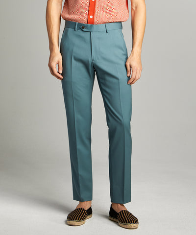 Sutton Wool Gabardine Pant in Aqua