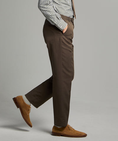 Herringbone Linen Sack Suit Trouser in Brown