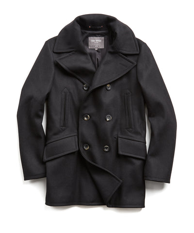 Todd Snyder + Private White Manchester Wool Peacoat in Black