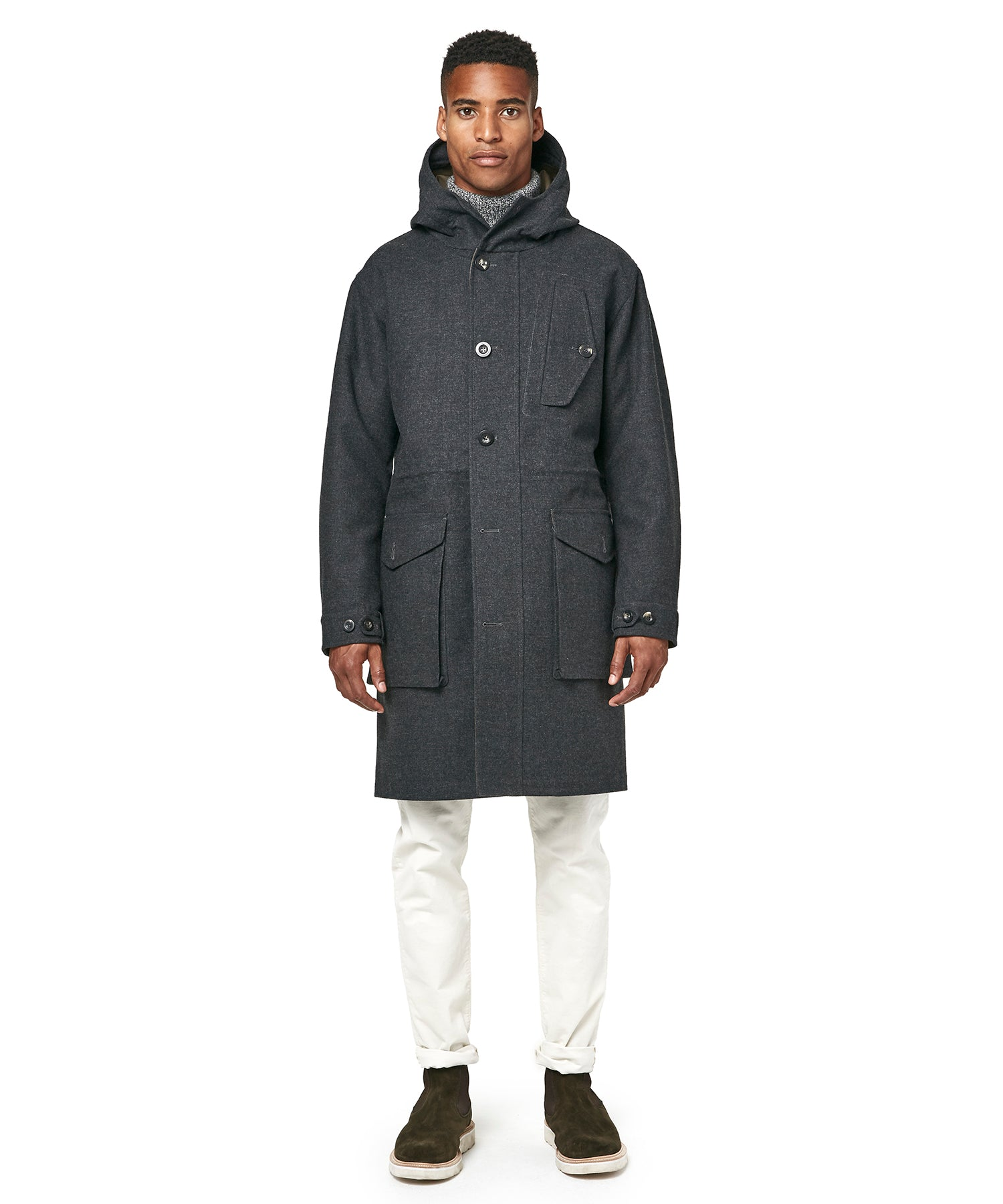 Exclusive Private White V.C Wool Parka in Charcoal