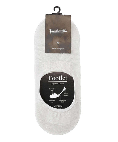 Pantherella No-Show Socks in White Egyptian Cotton