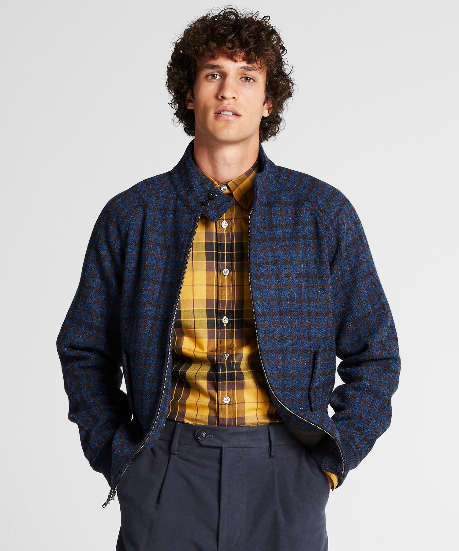 Harris Tweed Varsity Jacket in Blue
