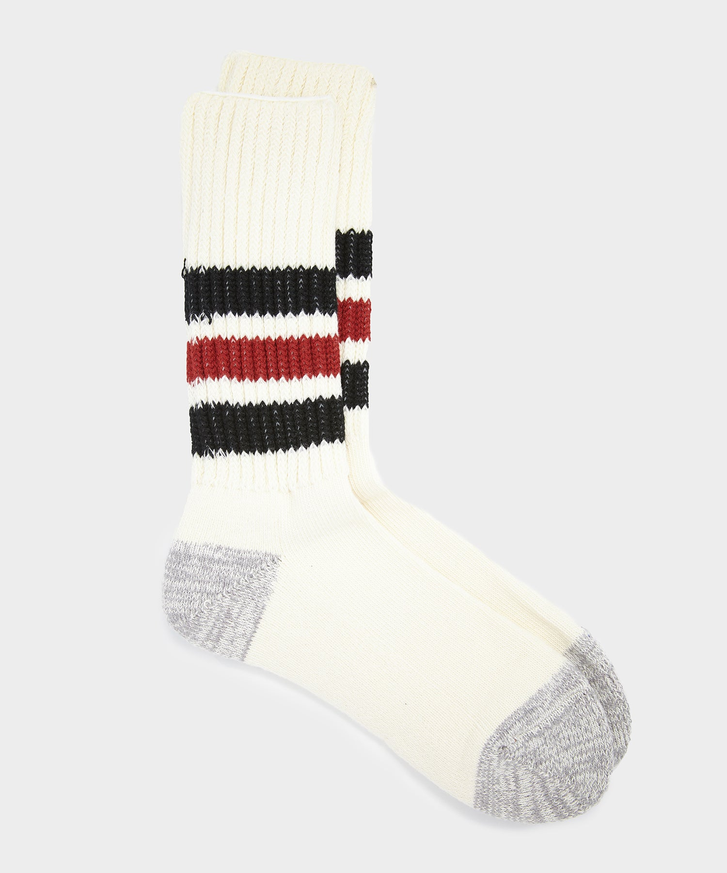 RoToTo Coarse Ribbed Old School Crew Socks in Black