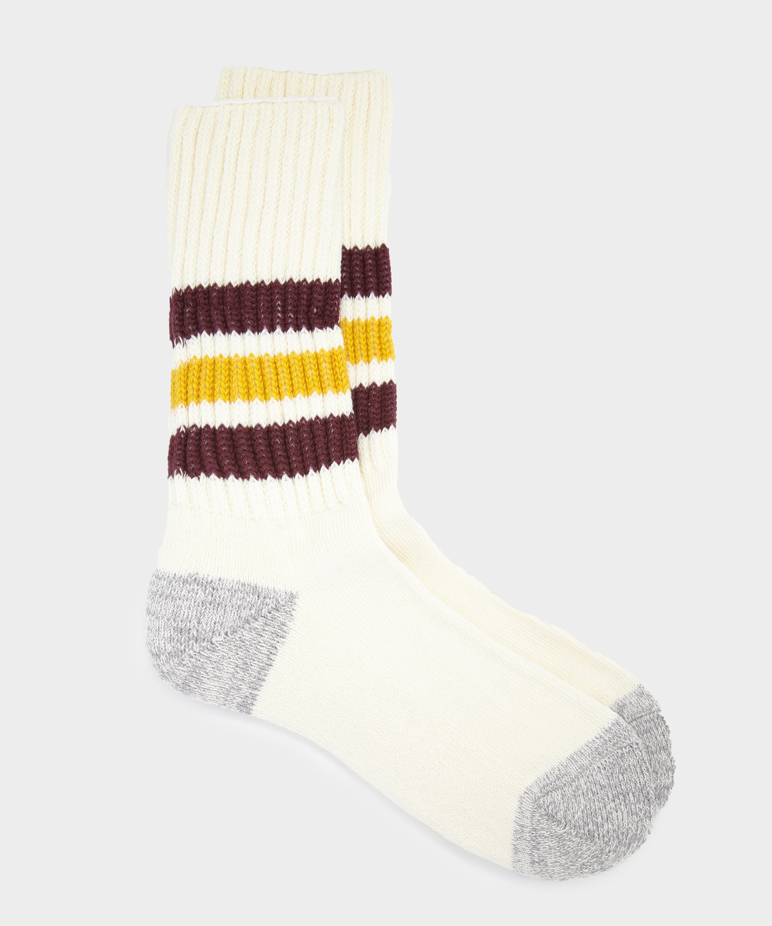 RoToTo Coarse Ribbed Old School Sock in Bordeaux/Yellow