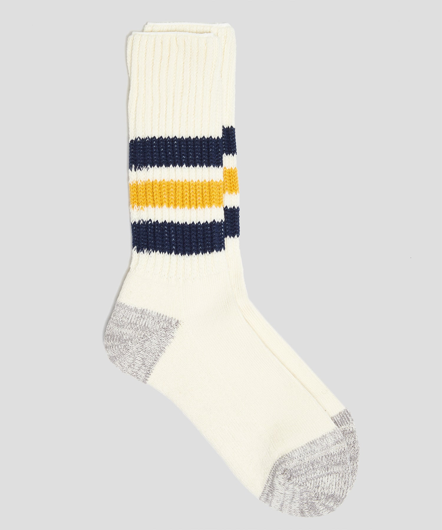 RoToTo Coarse Ribbed Old School Crew Socks in Navy