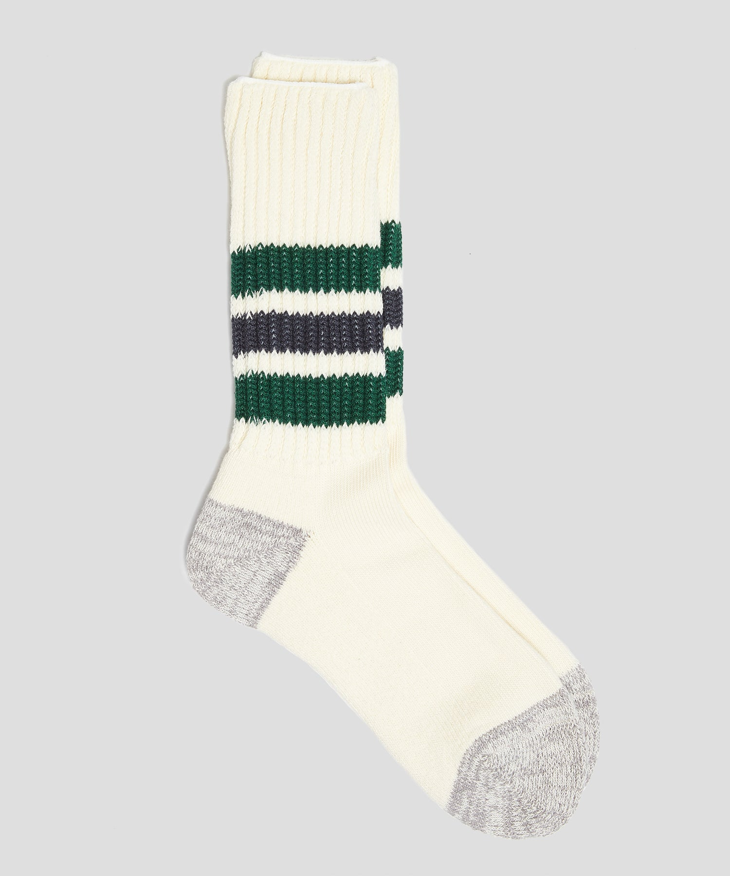 RoToTo Coarse Ribbed Old School Crew Socks in Green