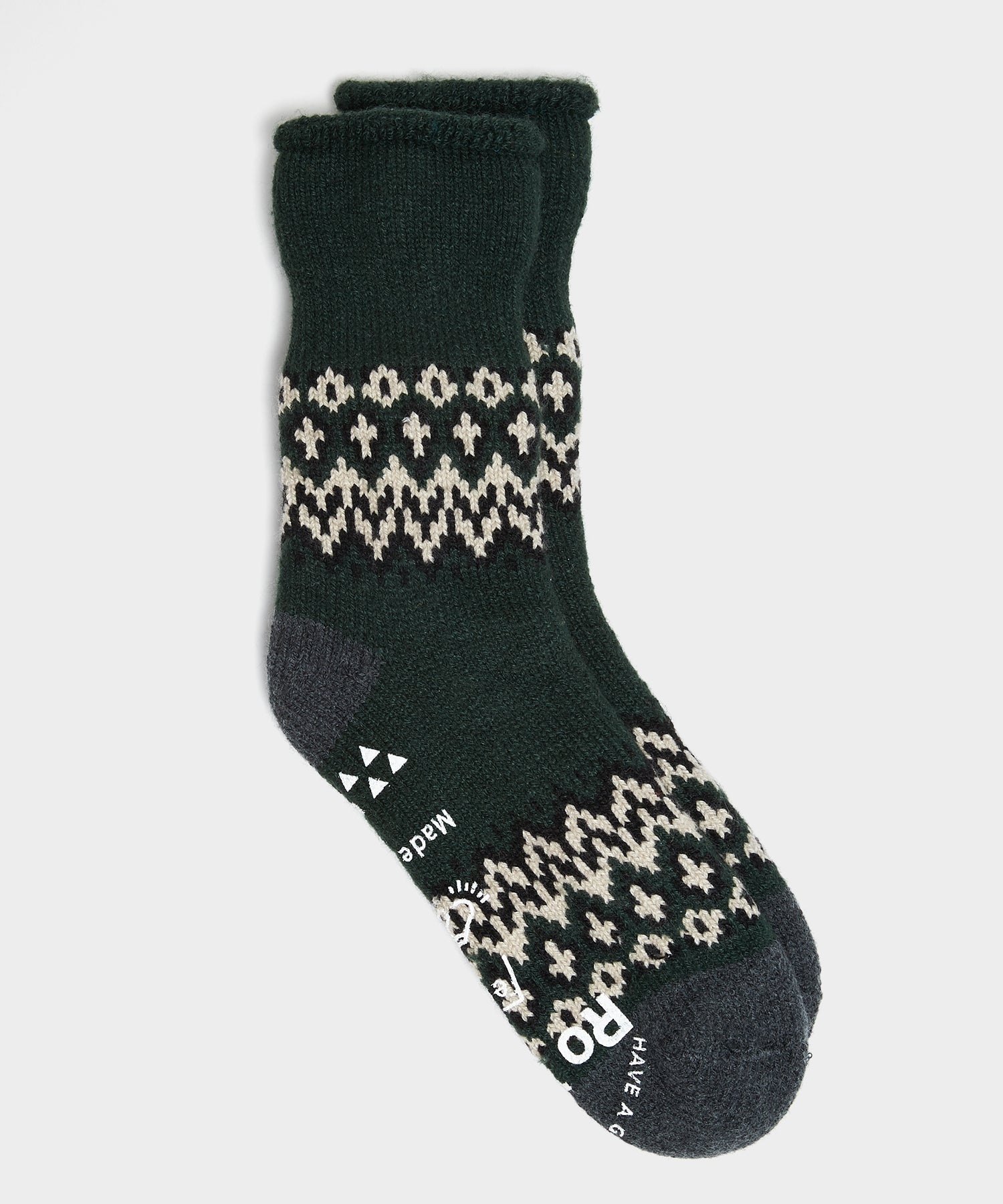 RoToTo Comfy Nordic Room Socks in Dark Green