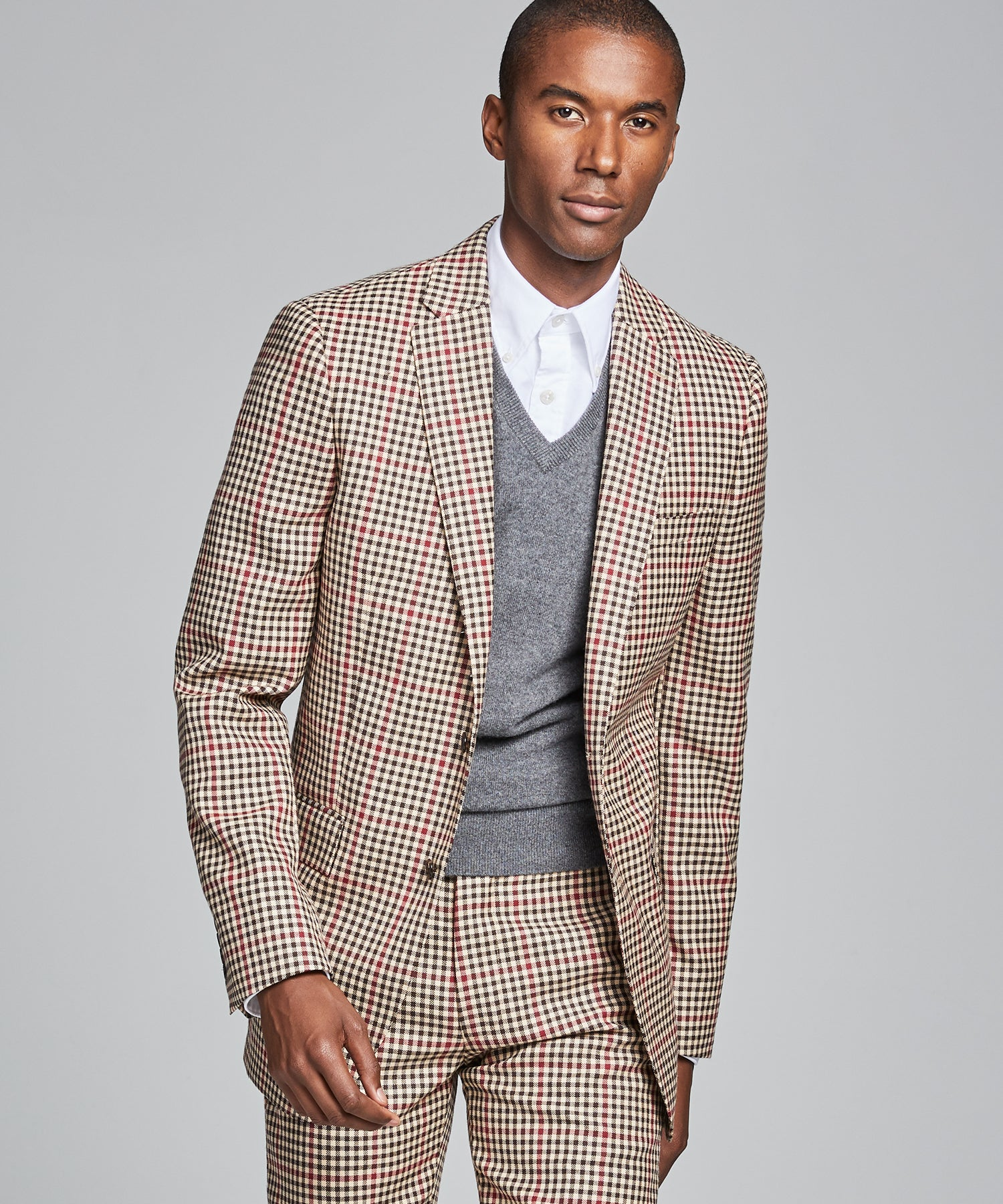 Sutton Red and Brown Check Suit