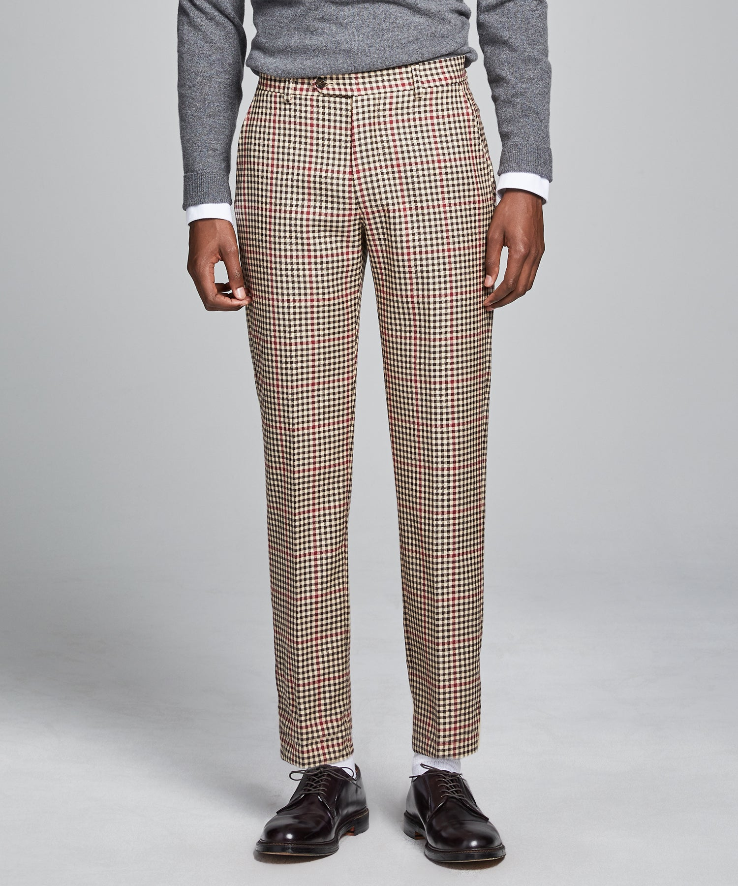 Sutton Red and Brown Check Suit Trouser