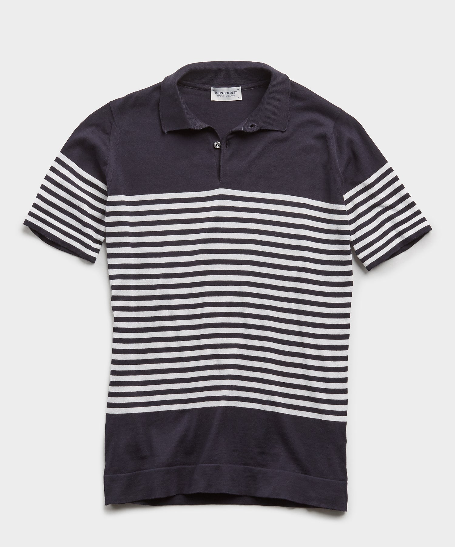 John Smedley Striped Sea Island Cotton Polo in Navy