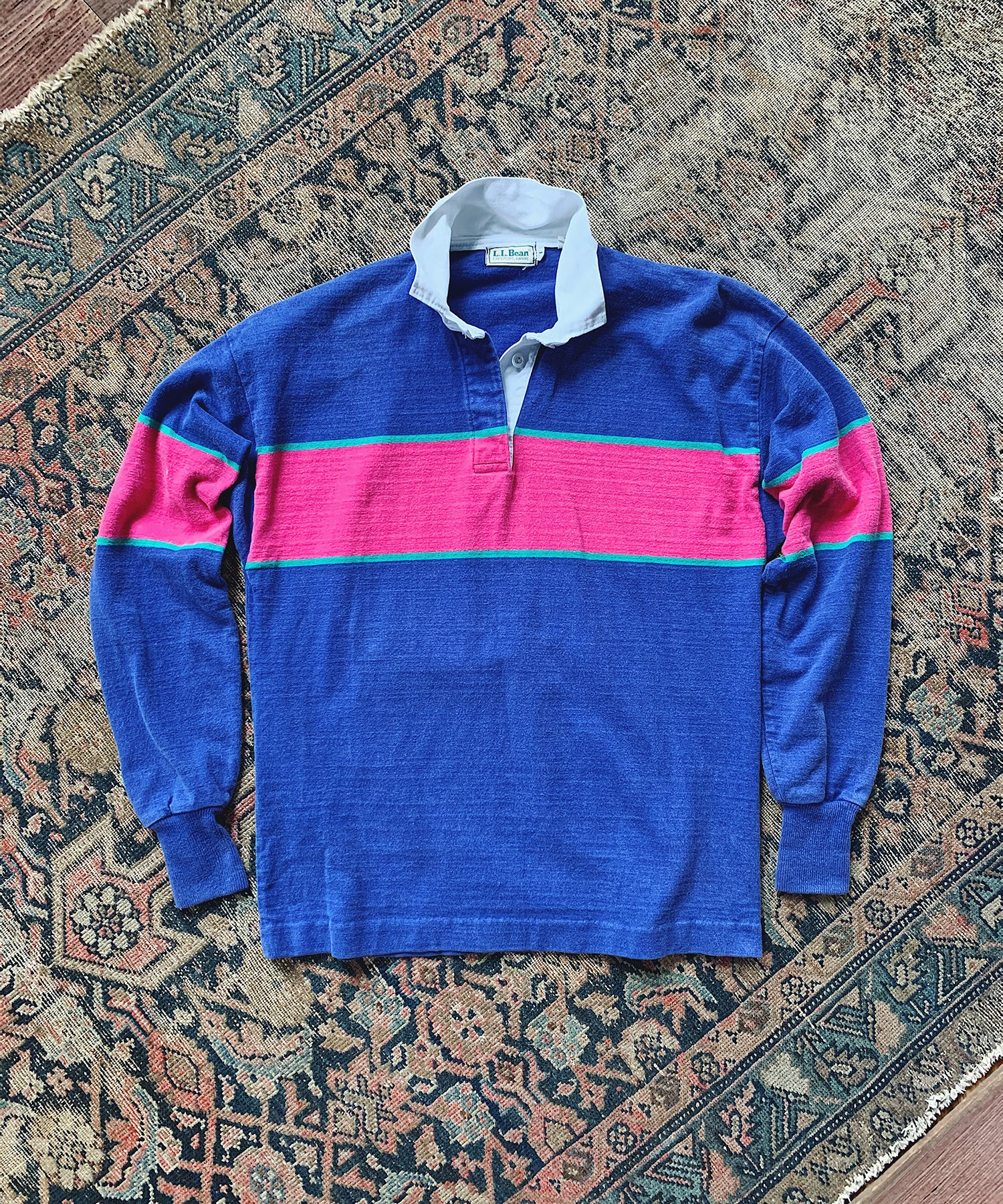 Item #13 - Todd Snyder x Wooden Sleepers 1980's Rugby Shirt in Blue with Pink stripe - SOLD OUT