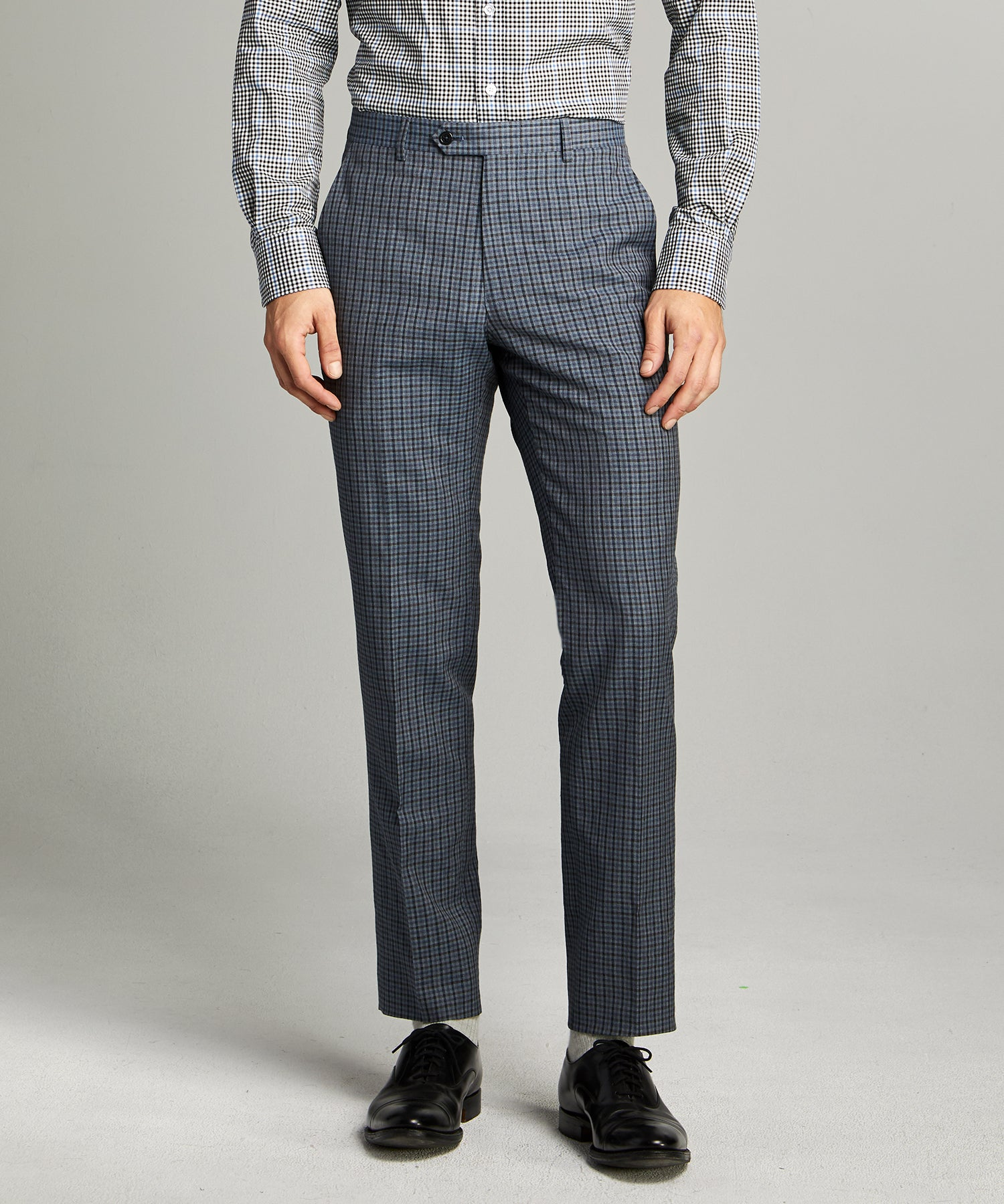 Sutton Wool Linen Suit Trouser in Grey Navy Check