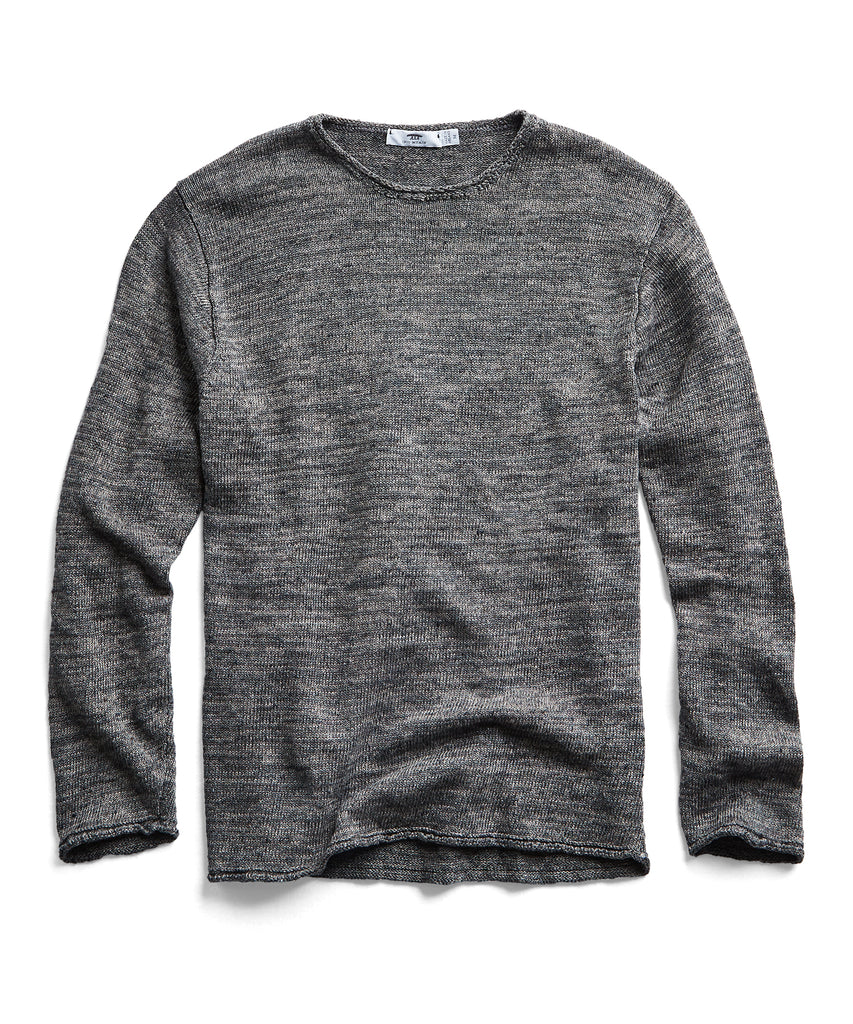 Inis Meain Washed Linen Roll Neck Sweater in Dark Grey