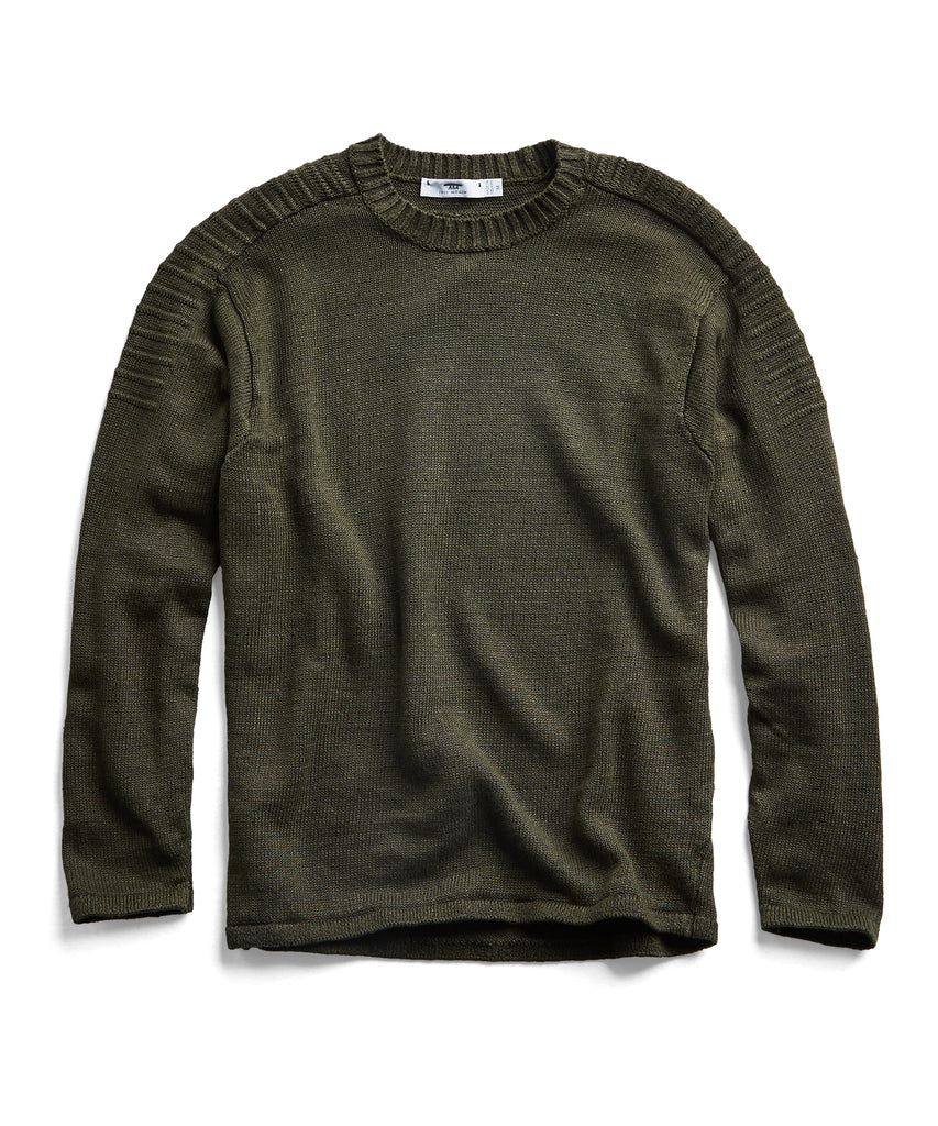 Inis Meain Washed Linen Shoulder Detail Sweater in Olive